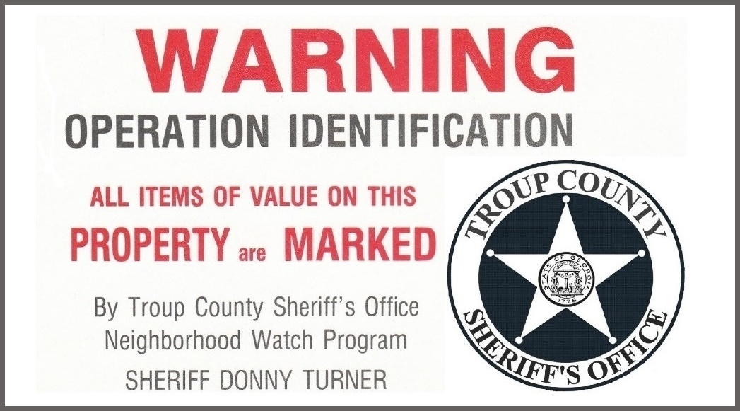 Troup County Sheriff Recommends Operation Identification