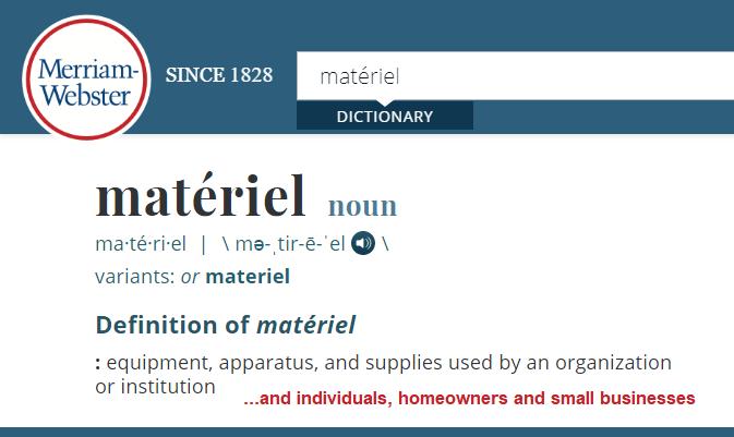 Matériel: Expanded Definition