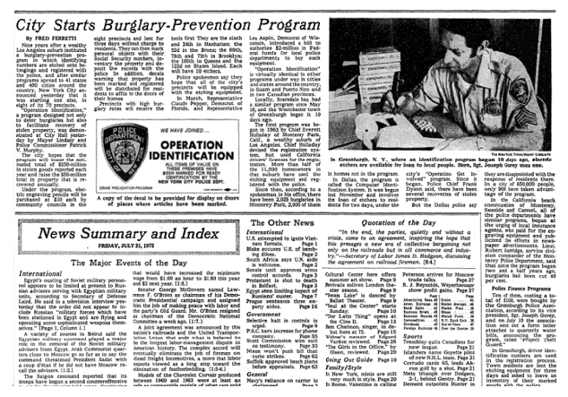 NYPD Launches Operation ID in 1972